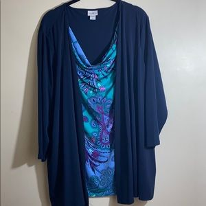 2X Jaclyn Smith Layered Look Blouse
